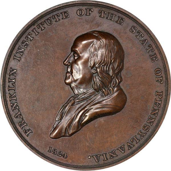 United States. Mint Medal. 1824 (circa 1845) Franklin Institute. Julian AM-18. Bronze. EF