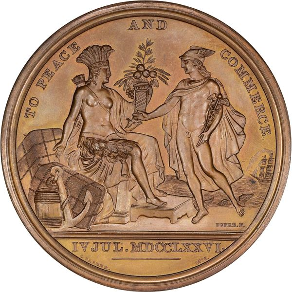 United States. Mint Medal. IV JUL. MDCCLXXVI (circa 1876) Diplomatic Medal. Julian CM-15. Bronze.