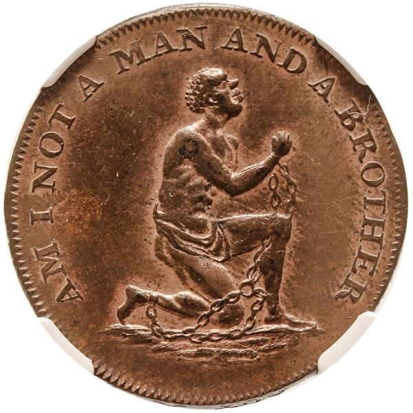 "c. 1790, Anti-Slavery Theme British Copper Halfpenny, Conder Token. Obverse Legend: ""Am I Not a Man"