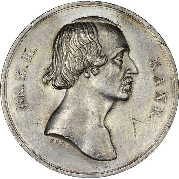 United States. Philadelphia. 1857 Dr. E.K. Kane Arctic Expedition Medal. White Metal. EF