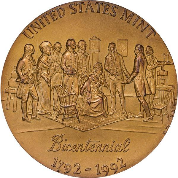 United States. 1792-1992 U.S. Mint Bicentennial Medal. Yellow Bronze. Gem Mattelike.