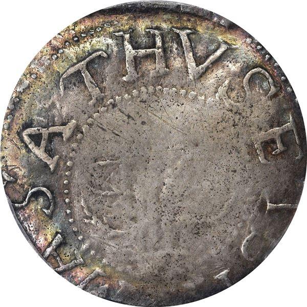 Massachusetts Bay Colony. 1652 Oak Tree Shilling. Noe-5, Crosby 2-D, Salmon-3D, W-470. VF-25 PCGS
