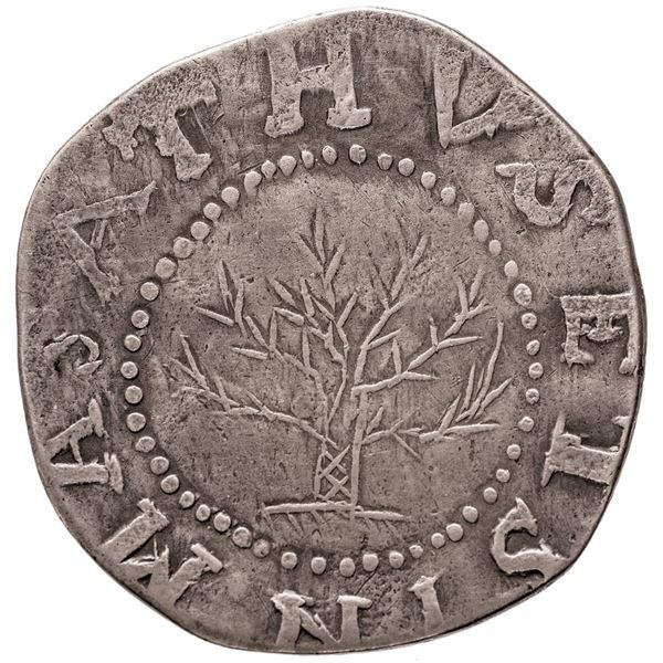 Massachusetts Bay Colony. 1652 Oak Tree Shilling. Noe-7, Cr.1b-D, W.480. IN at Bottom. Rarity-5. VF.