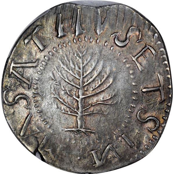 Massachusetts Bay Colony.  1652 Pine Tree Shilling. Noe-4, Cr.5-B1. Large Planchet. Backward N. Rari