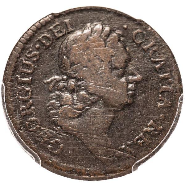 1722 Rosa Americana Halfpenny. Martin 1.1-A.1. Copper. Possibly Unique. Fine-15 PCGS.