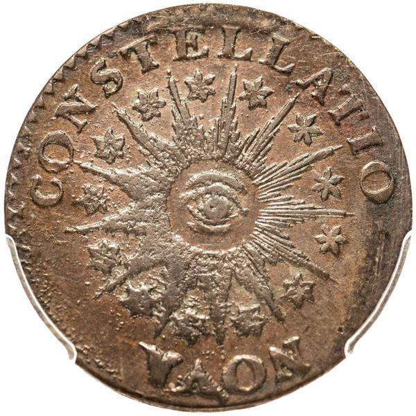 "1785 Nova Constellatio Copper. CONSTELLATIO. ""Pointed Rays"" Type. Crosby 3-B. W-1895. PCGS graded AU"
