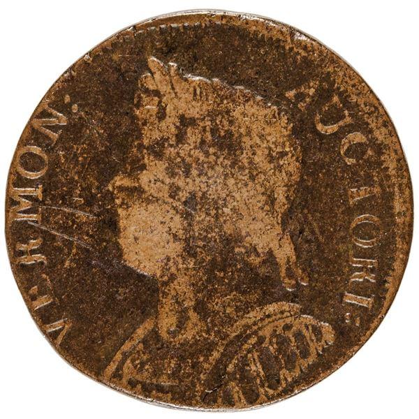 Vermont. 1786 Copper. Ryder Richards 10, Bressett 8-G, Whitman-2045. Mailed Bust Left. Rarity-4. Ver