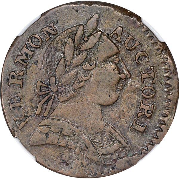 Vermont. 1787 Copper. RR.13, B.17-V, W.2255. Rarity-1. AU-50 NGC.