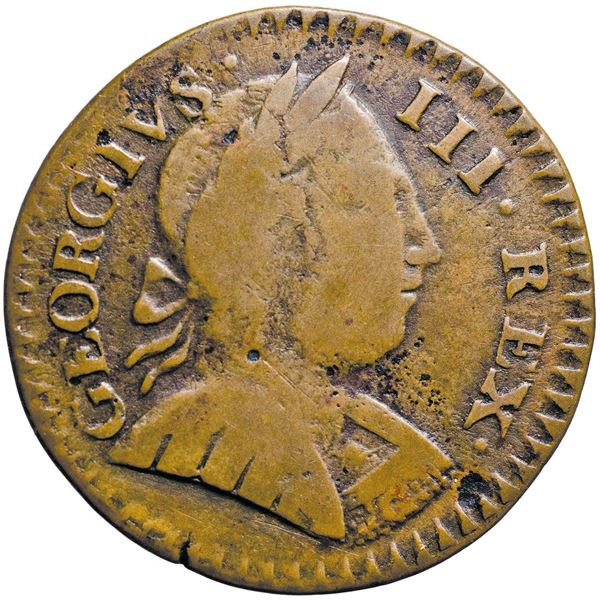 Vermont. 1788 Copper. GEORGIVS III REX. RR-31, B.24-U, W.2260. Mailed Bust Right. Low Rarity-5. Very