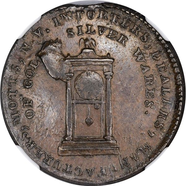 """New York. """"1789"""" Mott Token. Thick Planchet. Plain Edge. Breen-1020. MS-62 BN NGC."""