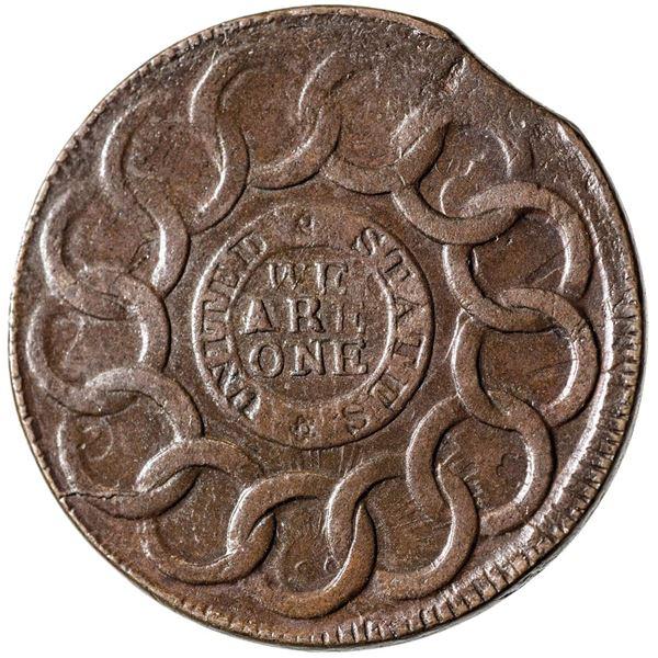 1787 Fugio Copper. Newman.8-B, W.6740. Pointed Rays, United States. Four Cinquefoils. Rarity-3. AU-5
