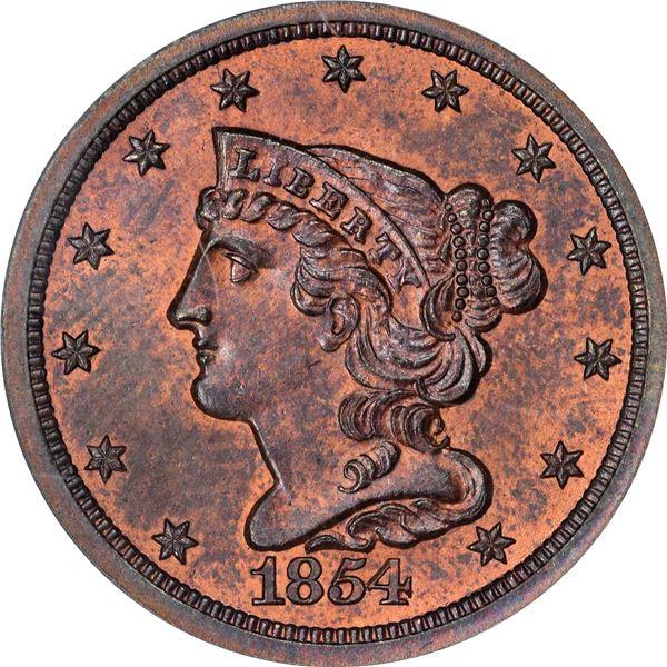 1854 Half Cent. Cohen-1, Breen-2. Rarity-3. MS-64 RB PCGS