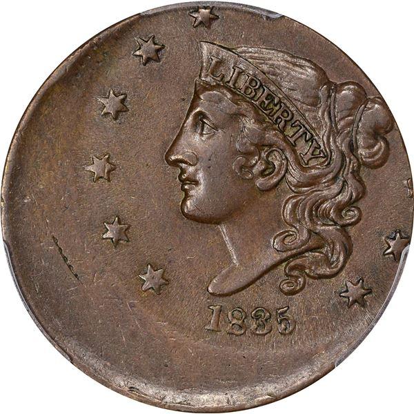 1835 Large 1¢. Head of 1836. Struck 30% Off-Center. AU-58 PCGS Mint Error.