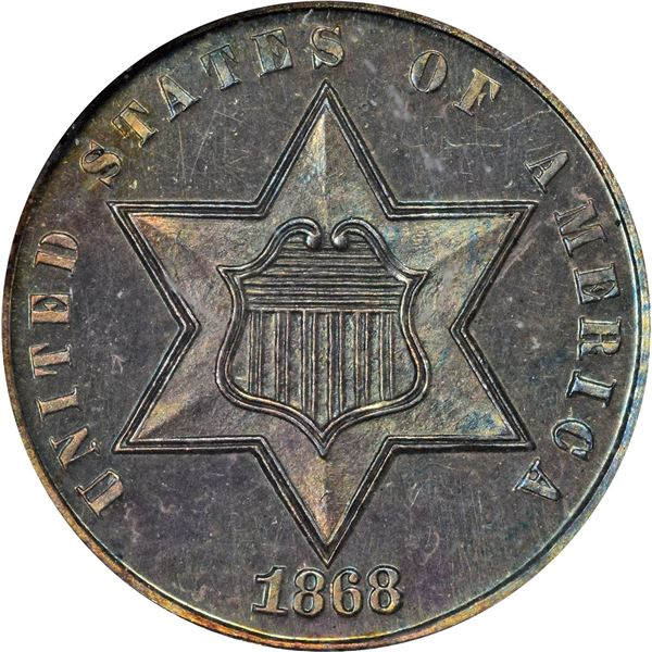 1868 Silver 3¢. Proof-64 NGC.