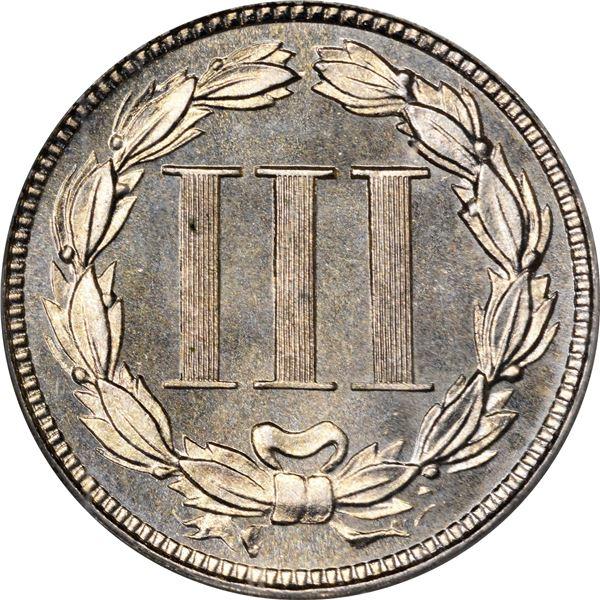 1880 Nickel 3¢. Proof-65 PCGS