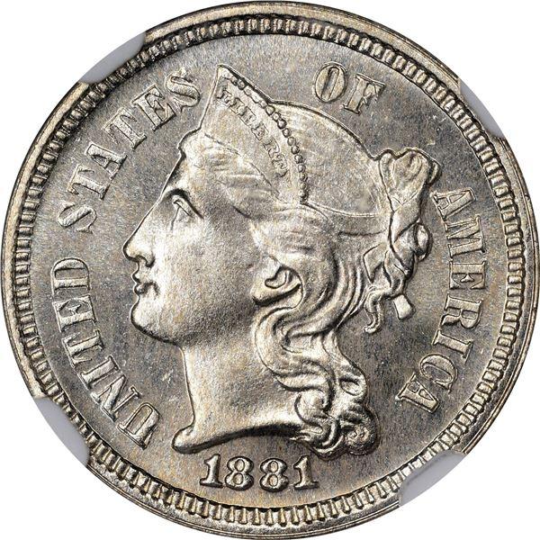 1881 Nickel 3¢. Proof-65 NGC