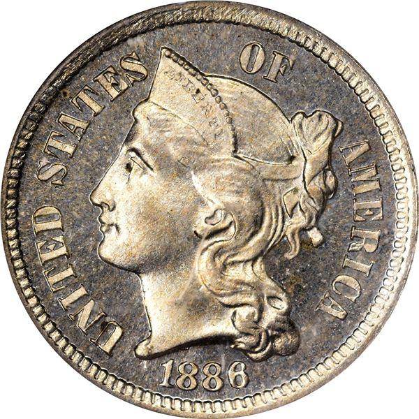 1886 Nickel 3¢. Proof-65 NGC.