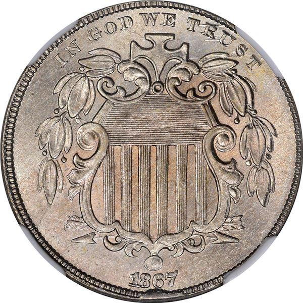 1867 Shield 5¢. Rays. MS-65 NGC