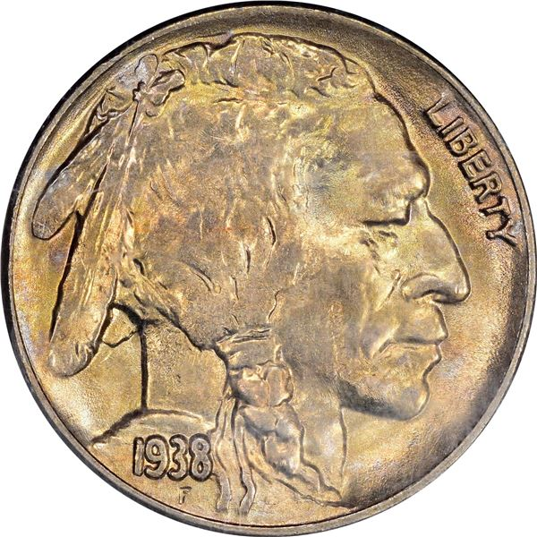 1938-D Buffalo 5¢. MS-64 PCGS. OGH. Gold CAC