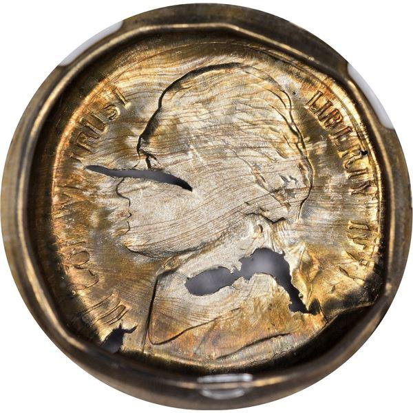 1977-D 5¢. Obverse Die Cap. MS-67 NGC Mint Error.
