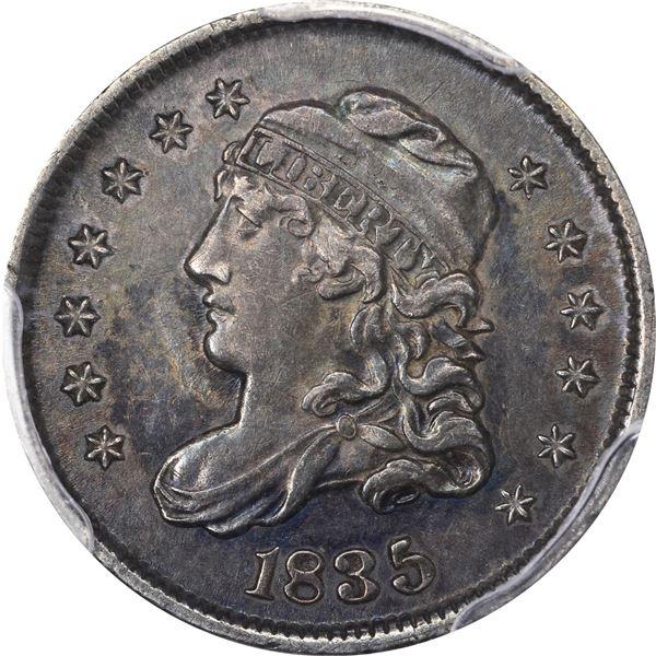 1835 Half Dime. LM-6. Large Date, Small 5¢. Rarity-2. AU-55 PCGS.
