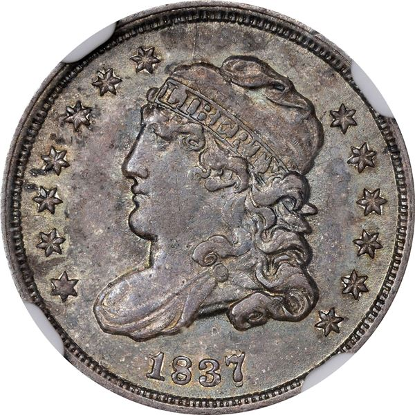 1837 Capped Bust Half Dime. LM-1. Large 5C. AU-58 NGC.