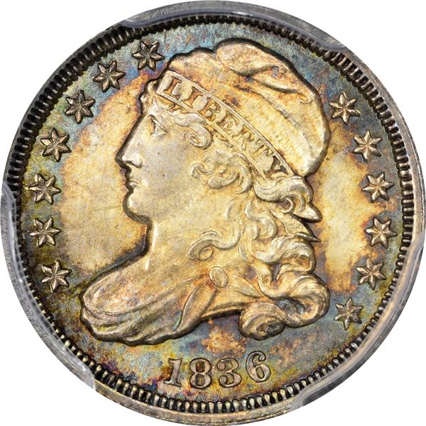 1836 10¢. JR-3. Rarity-3. MS-65 PCGS. CAC.