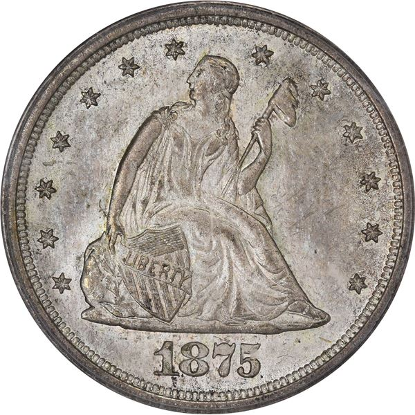 1875-S 20¢. Date in Dentils, $ Mintmark Variety. MS-64 PCGS. OGH. CAC.v
