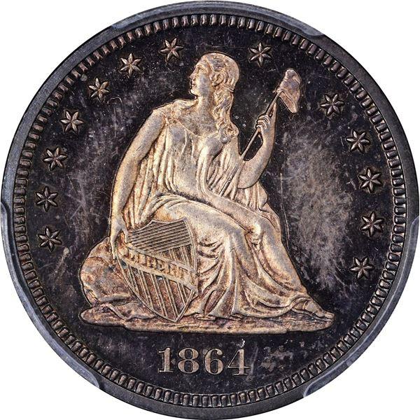 1864 25¢. Proof-65 PCGS.