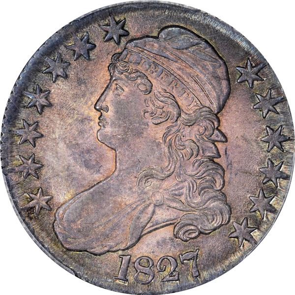 1827 50¢. Overton-135. Rarity-3. Square Base 2. MS-64 PCGSv