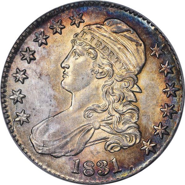 1831 50¢. Overton-105. Rarity-3. AU-58 PCGS. CAC