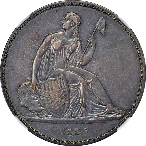 1836 Gobrecht $1. Judd-60. Name on Base. Die Alignment I. Proof-55 NGC. CAC