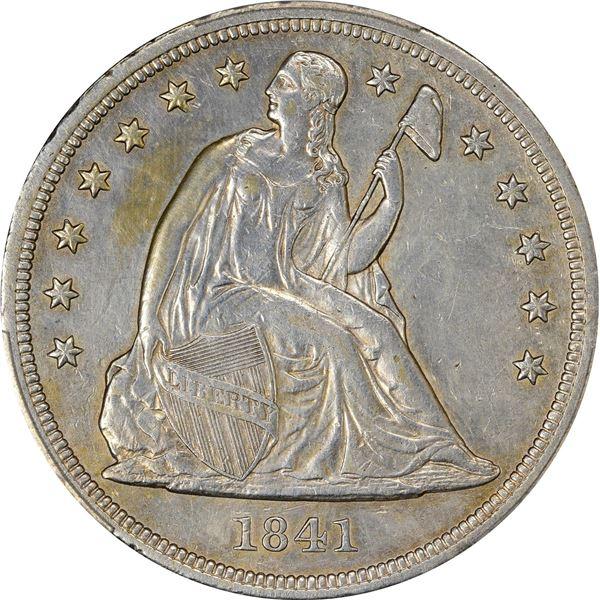 1841 $1. PCGS Genuine – Repaired – AU Details.