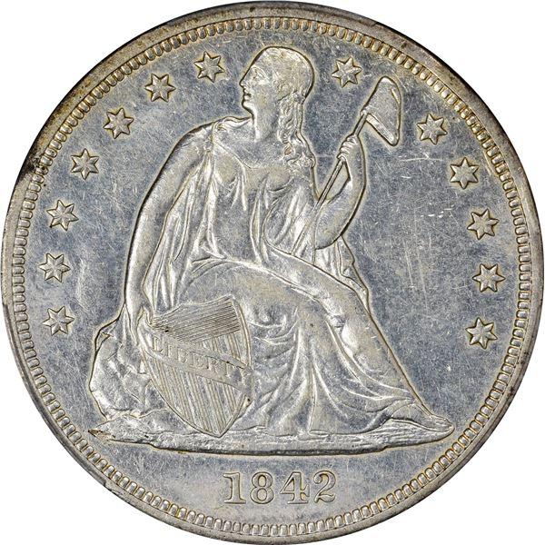 1842 $1. PCGS Genuine – Cleaned – AU Details. PCGS Genuine – Cleaned – AU Details.