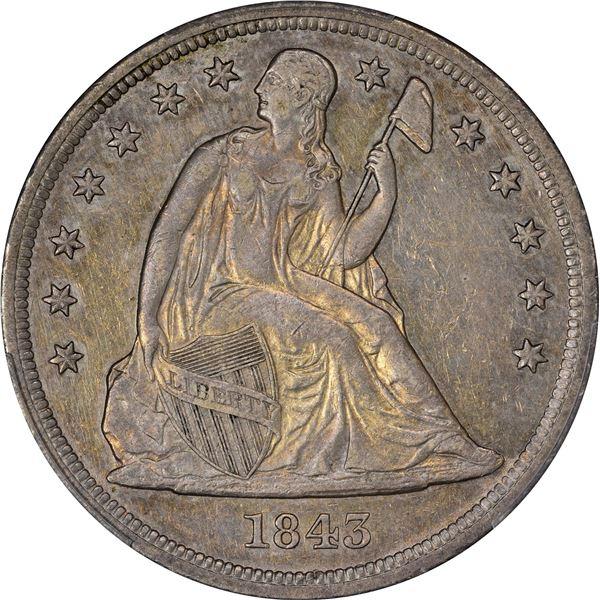 1843 $1. PCGS Genuine – Cleaned – AU Details.