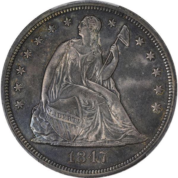 1847 $1. PCGS Genuine – Repaired – AU Details.