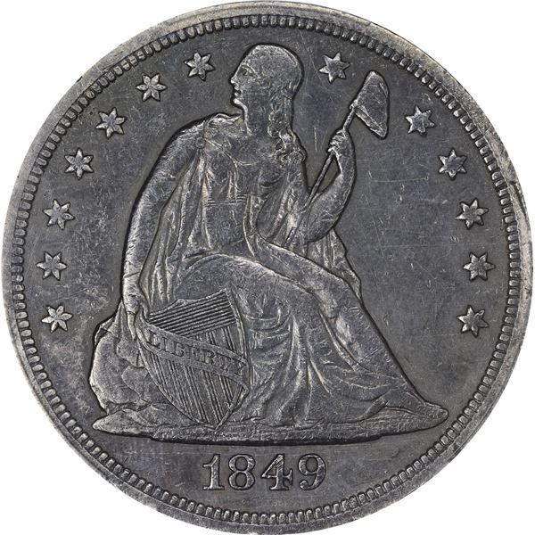 1849 $1. PCGS Genuine – Repaired – EF Details.