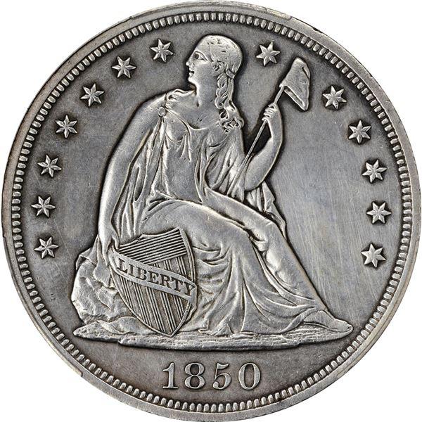 1850 $1. PCGS Genuine – Repaired – EF Details.