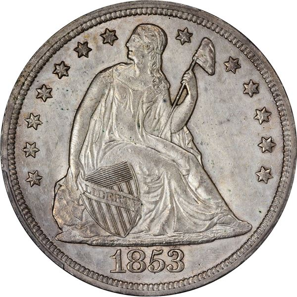 1853 $1. PCGS Genuine – Cleaned – Uncirculated Details.