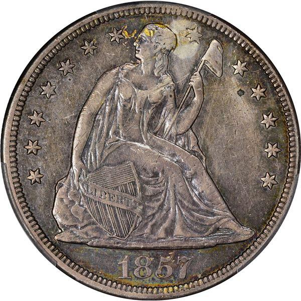 1857 $1. PCGS Genuine – Plugged – EF Details.