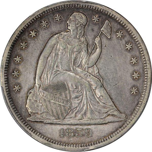 1859-O $1. PCGS Genuine – Filed Rims – AU Details.