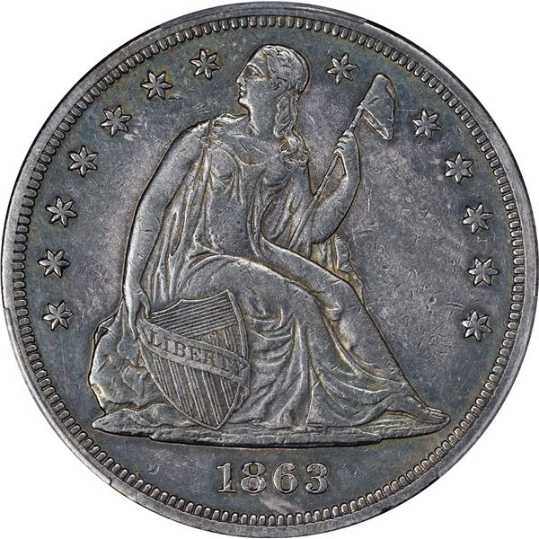 1863 $1. PCGS Genuine – Repaired – EF Details.