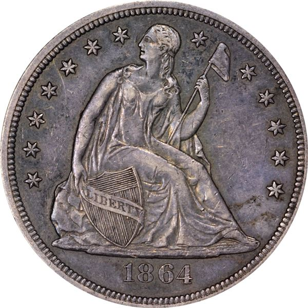 1864 $1. EF-45 NGC
