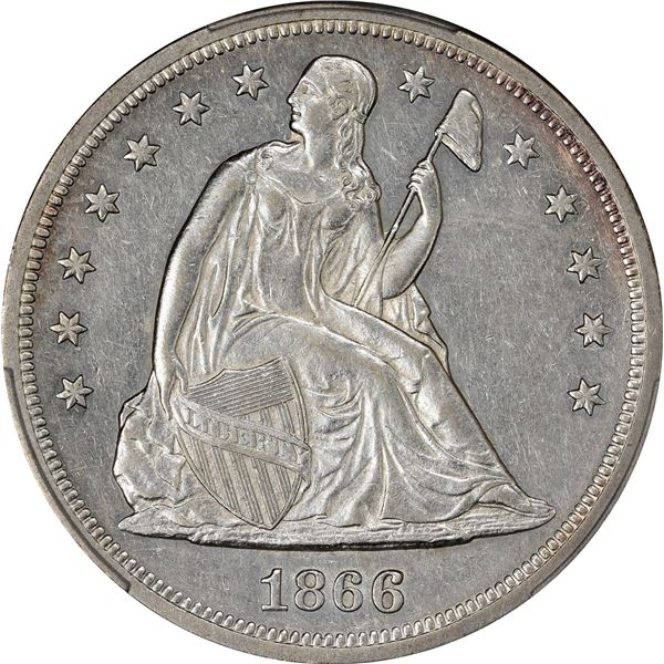 1866 Motto $1. AU-50 PCGS.