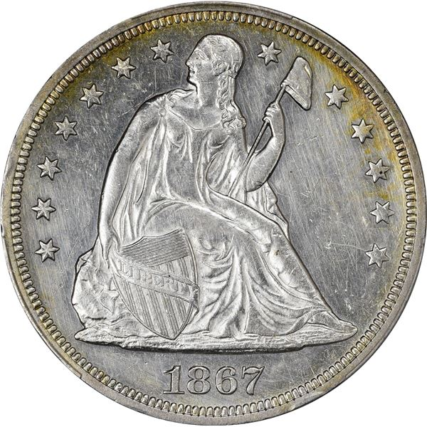 1867 $1. Repunched Date. PCGS Genuine – Harshly Cleaned – AU Details.