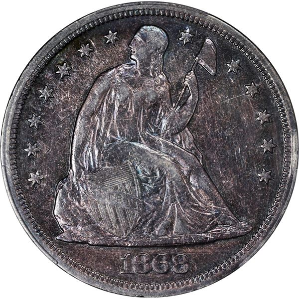 1868 $1. PCGS Genuine – Cleaned – VF Details.