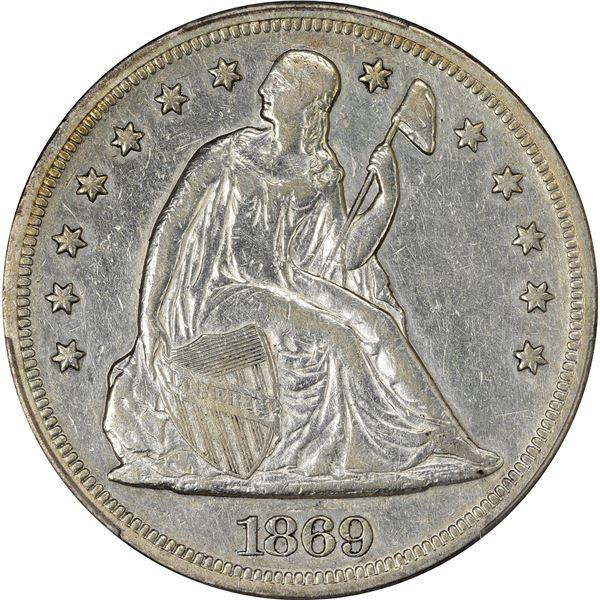 1869 $1. PCGS Genuine – Harshly Cleaned – VF Details.