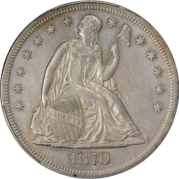 1870 $1. PCGS Genuine – Repaired – EF Details.