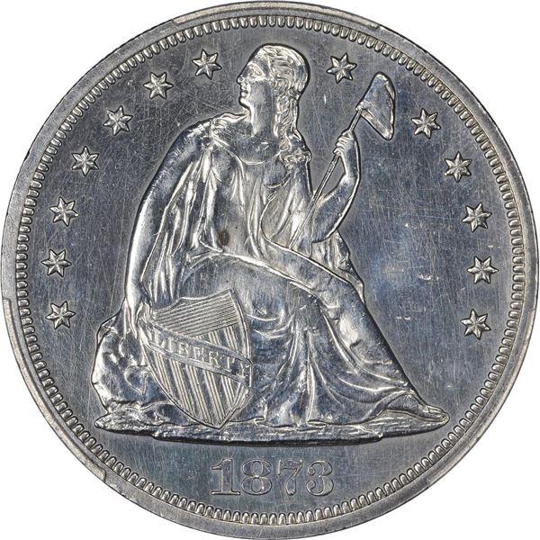 1873 Liberty Seated $1. PCGS Genuine – Polished – AU Details.