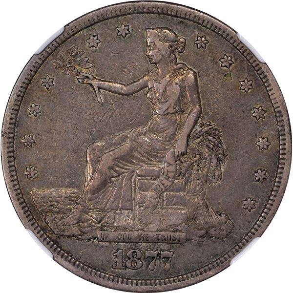 1877-S Trade $1. Doubled Die Reverse. FS-802. EF-40 NGC. CAC.